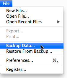 Back-up and Restore from the File Menu