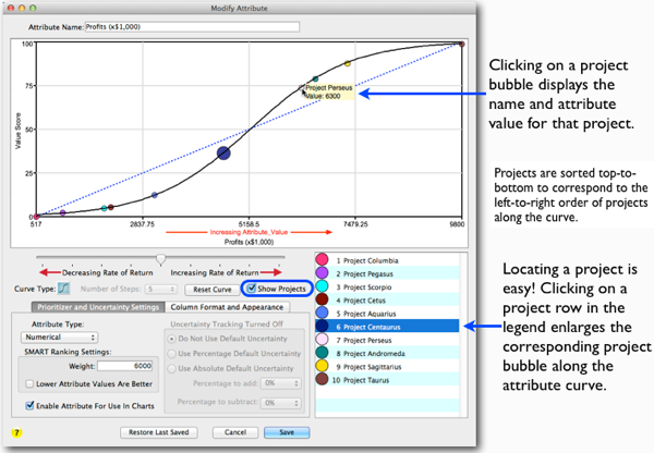 New attribute form makes it easy to find your projects along the SMART value curve so you can adjust your curve precisely