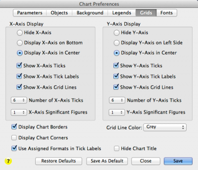 The Grids page for changing Bubble Chart grid display preferences in Bubble Chart Pro™